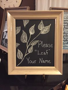 """For signing our Peachwik guestbook tree- Please """"leaf"""" your name"""