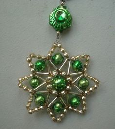 Image detail for -VINTAGE Bohemian GLASS BEADED STAR CHRISTMAS ORNAMENT Completed