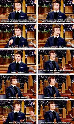 Ansel Elgort's Mom Embarrassed Him in Front of Bruce Willis