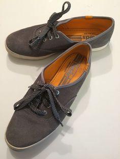 KEDS Gray Microsuede Sneaker Shoes White Polka Dot Laces Sz 6.5 EUC #Keds #Sneakers