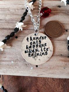 Fleetwood mac inspired necklace or bracelet Thunder only happens when it's raining Stevie nicks on Etsy, $24.99