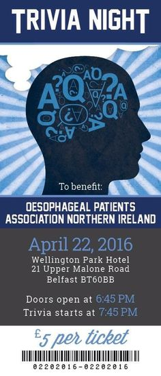 Fun Table Quiz Friday at the Wellington Park in aid of NI Oesophageal Cancer Support.