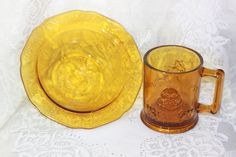 Amber Glass Tiara Child\'s Set  Cup Bowl Nursery Rhyme Dishes. Starting at $25