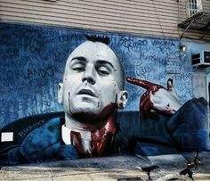 Taxi Driver street art by bkfoxx in NY Murals Street Art, Mural Art, Street Art Graffiti, Amazing Street Art, Art Graphique, Outdoor Art, Land Art, Art Festival, Street Artists