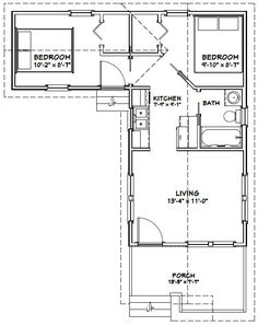 Tiny House Plan 76166 | Total Living Area: 480 Sq. Ft., 2 Bedrooms And 1  Bathroom. #tinyhome | Tiny Micro House Plans T | Tiny House Plans, Tiny Hou2026
