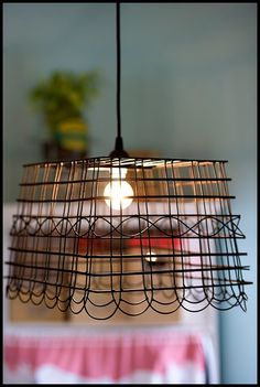 Basket Lighting {cage lighting} - Home Stories A to Z
