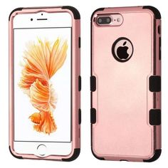 Insten Rose Gold/ Tuff Hard PC/ Silicone Dual Layer Hybrid Rubberized Matte Case Cover For Apple iPhone 7 Plus
