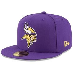New Era Minnesota Vikings Team Basic 59FIFTY Cap ($35) ❤ liked on Polyvore featuring men's fashion, men's accessories, men's hats, mens fitted hats and mens caps and hats