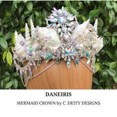 Crystal Mermaid Crown, Mermaid Costume, Seashell Crown, Mermaid Headpiece, Beach Bride Shell Crown - DANEIRIS  #seashellheadpiece