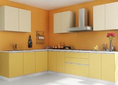 Mengo Themed L-Shaped Modular Kitchen Design.