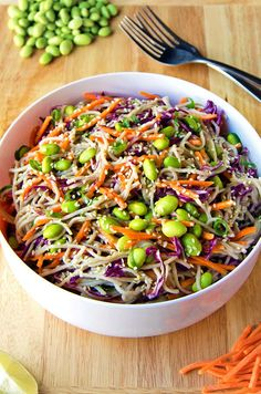 Rainbow Soba Noodle Salad - Colorful veggies and chewy soba noodles all tossed together with a flavorful sesame garlic and lime dressing. It's super easy and can be made ahead of time too! Gf Recipes, Asian Recipes, Whole Food Recipes, Vegetarian Recipes, Dinner Recipes, Cooking Recipes, Healthy Recipes, Ethnic Recipes, Mexican Recipes