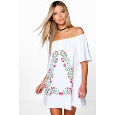 Boohoo Ciara Large Folk Embroidered Gypsy Shift Dress ($30) ❤ liked on Polyvore featuring dresses, white, white dresses, white cami dress, evening dresses, day to night dresses and white embroidered dress