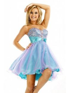 This is Darling!    Bejeweled Strapless Prom Dress With Sheer Skirt  by Party Time Formals  $258.00