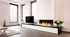 Faber: Gashaarden > Built-in > Triple Premium XXL Modern Fireplace, Fireplace Design, Home Office Design, Interior Design Living Room, New Living Room, Living Spaces, Fireplace Remodel, Home Decor Inspiration, Gas Fireplaces