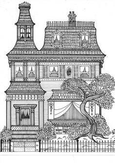 Beautiful Haunted Victorian Mansion Coloring Sheet for Halloween Art Projects For Adults, Cool Art Projects, Doodle Art Drawing, Art Drawings Sketches, Adult Coloring Pages, Coloring Sheets, Colouring, Mandala Art Lesson, House Drawing