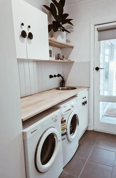 Mum's Bunnings laundry renovation saves $4700 | Photos Laundry Cupboard, Laundry Room Storage, Modern Laundry Rooms, Laundry In Bathroom, Laundry Decor, Laundry Area, Small Laundry, Bunnings Laundry, Timber Benchtop