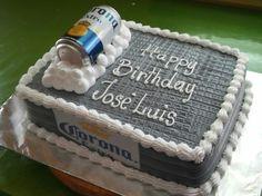 Corona beer cake Beer Birthday Party, Guys 21st Birthday, Blue Birthday Cakes, Birthday Sheet Cakes, Birthday Ideas, Paul Cakes, Beer Decorations, Birthday Decorations, Liquor Cake
