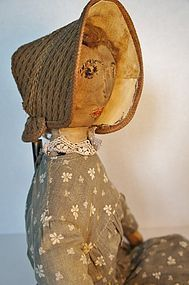 "23"" antique cloth doll embroidered face 19th C."