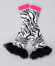 Someone PLEASE buy these for their little girl! I just don't think people would want to see me in them! Take a look at this Black & Pink Zebra Leg Warmers  by Blow-Out on #zulily today!