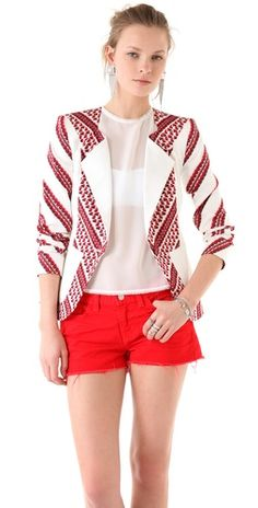 thakoon chevron print blazer in black, red & white
