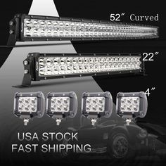 """Curved 52Inch LED Light Bar Combo + 22"""" +4"""" CREE PODS OFFROAD SUV 4WD FORD JEEP 
