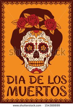Frame with mexican skull girl - stock vector