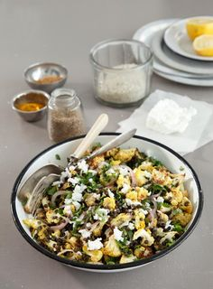 Black Lentil and Cauliflower Salad - made with turmeric, caraway seeds, cilantro, red onion, lemon, feta
