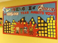 Back to school Avengers bulletin board grade - Visit to grab an amazing super hero shirt now on sale! Superhero Bulletin Boards, Back To School Bulletin Boards, Classroom Bulletin Boards, Classroom Door, School Classroom, Classroom Themes, Classroom Design, Superhero School Theme, School Themes