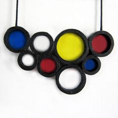 Retro - Asymmetric jewelry - Large pendant necklace - Circle, geometry, abstract, playful, colorful - Black, White, Red, Yellow, Blue. $42.00, via Etsy.