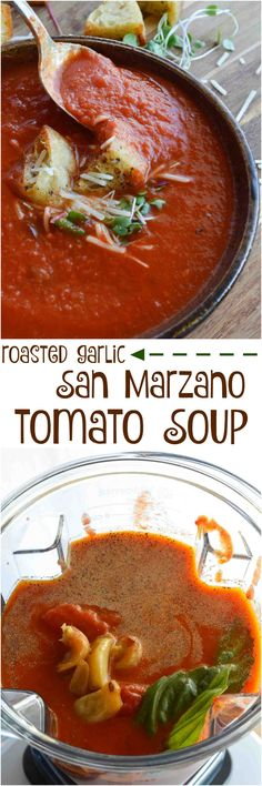This Easy Tomato Soup Recipe is comfort food at it's best. San Marzano Tomatoes and roasted garlic take this family favorite to the next level! Enjoy a bowl of this healthy homemade soup for lunch or dinner. And instead of sugar I use a secret ingredient to add a hint of sweet . . . spoiler, it is carrot juice! ad