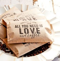 wedding favors Personalized Wedding Coffee Favor - All you need is Love & Coffee, DIY - 20 Kraft Brown Food Safe Paper Bags - Party Supply Coffee Favors, Coffee Wedding Favors, Handmade Wedding Favours, Personalized Wedding Favors, Coffee Gifts, Unique Wedding Favors, Unique Weddings, Wedding Ideas, Coffee Bags