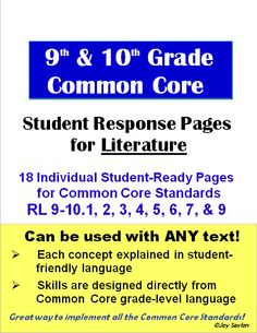 Common Core Literature: Student Response Pages for Grades 9 & 10 - Attractively-designed student-ready handouts that will have your students practicing the Common Core Reading Standards with any literature you choose to teach! Beautifully designed and super handy to add to your units!