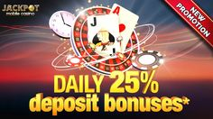 It's last week of march and we are here once again with an amazing deposit bonus promotion! Get a 25% deposit bonuses up to £50, everyday at Jackpot Mobile Casino! Deposit & play min. £10 on any of your favourite game to claim your bonus! Promotion valid till 31st March. Deposit now: https://www.jackpotmobilecasino.co.uk/promotions/daily-deposit-bonus/  #Casino #promotion #bonus
