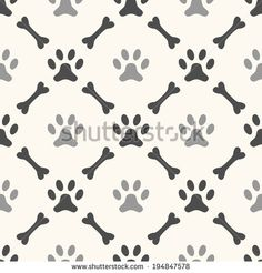Seamless Animal Pattern Of Paw Footprint And Bone Endless Texture Can Be Used For Printing Onto Fabric Web Page Background Paper Or Invitation