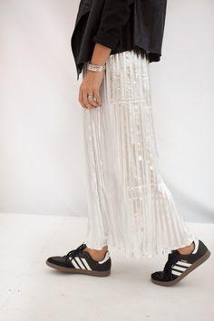 hawthorne silver skirt + sneakers
