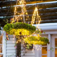 40 Fabulous Christmas Chandelier Ideas to Beautify Your Home Decoration - FashDeco Moss Wedding Decor, Wedding Decorations, Moss Decor, Garden Decorations, Metal Plant Hangers, Christmas Chandelier, Moss Wreath, Booth, Old Shutters