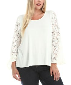 Look what I found on #zulily! White Lace-Sleeve Back-Cutout Top - Plus #zulilyfinds