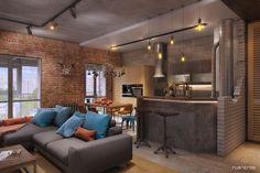 Лофт в Сколково - Галерея 3ddd.ru Design Industrial, Industrial House, Lofts, Loft Design, House Design, Living Room Interior, Living Room Decor, Home Decor Bedroom, Loft Spaces