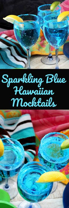 Sparkling Blue Hawaiian Mocktails, Recipe Treasures Blog
