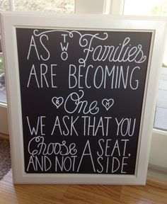 Choose a Seat Not a Side Chalkboard Sign by SayEverything on Etsy, $52.00