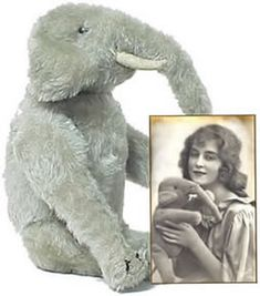 "Antique Steiff ""Elephant"" , with photo of original owner."