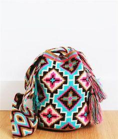 wayuu mochila bag blue pink brown