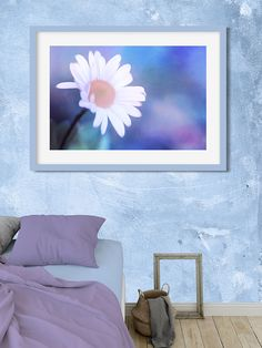 """Crazy Daisy framed print by Anita Pollak.  This shasta daisy had an impish quality and it seemed to want a more abstract, colorful look. s.#daisy #flower #homeDecor #framedPrint #blue #purple #pink #flower #floral #summer #gardenArt #abstract #abstractart #wallart  Bring your print to life with hundreds of different frame and mat combinations. Our framed prints are assembled, packaged, and shipped by our expert framing staff and delivered """"ready to hang."""""""