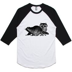 theIndie Racoons (Black) 3/4-Sleeve Raglan Baseball T-Shirt