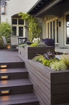 27 Outdoor Step Lighting Ideas That Will Amaze You is part of Patio deck designs - A collection of outdoor step lighting installations including stairs lighting for beauty, safety, ideas for lighting your outdoors steps [LEARN MORE] Deck Steps, Outdoor Steps, Outdoor Step Lights, Patio Deck Designs, Patio Design, Patio Ideas, Unique Deck Ideas, Small Deck Designs, Garden Design