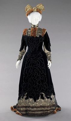 Fur-trimmed black silk velvet and embroidered chiffon afternoon ensemble (without matching fur muff), by Madame Virot for Raudnitz and Co. - Huet and Chéruit, French, 1898-1900.