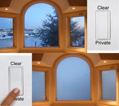 Modern Arch top bathroom window - Instantly frost with the touch of a button. eGlass by Innovative Glass Corp