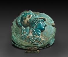 """theancientwayoflife: """" ~Mirror Box with Head of Athena. Date: 400-375 BC Place: Greece """""""