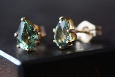 Green Sapphire Stud Earrings