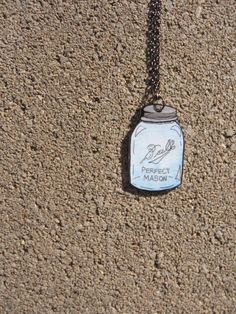 Blue Mason Jar Necklace Aqua Blue Canning by GodSaveStrawberryJam